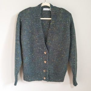 LE MODA Vintage Green Speckled Mohair Sweater | S